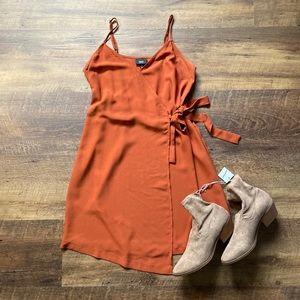 Mossimo Wrap Dress, Burnt Orange, Spaghetti Straps